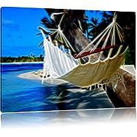 Maldive - Palma spiaggia del mare Neon Lights effetto, formato: 120x80 su tela, XXL enormi immagini completamente Pagina con la barella, stampa d