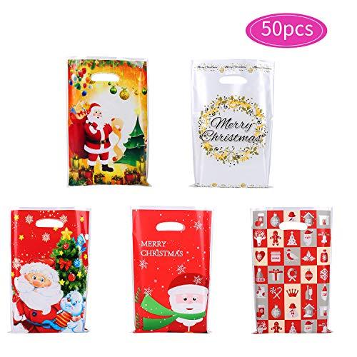 Herefun 50 Pezzi Sacchetto per Natale, Borsa di Regalo Sacchetto per Natale, Sacchetti Borsa per Caramelle Bustine Regalo Natale, Bambini Natale Festa Compleanno