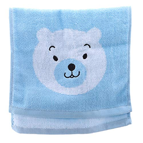 ZALING Baumwolle Gesichtstuch Bad Soft Skin Care Hair SPA Duschen Jacquard Handtuch für Kinder Blue Bear (Bear Blue Care)