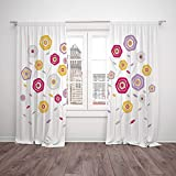 Thermal Insulated Blackout Window Curtain,Abstract,Multicolored Floral Arrangement Geometrical Design Ornament Romantic Valentines Decorative,Multicolor,Living Room Bedroom Kitchen Cafe Window Drapes Amazon deals