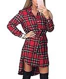 Shelers Camicette da Donna Camicie Scozzesi A Maniche Lunghe Camicetta con Colletto Rovesciato Camicetta Casual Bluse Irregolari Femminili Taglie Forti (Rosso, XL)