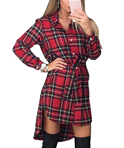 outlet store 56d8a 77830 Shelers Camicette da Donna Camicie Scozzesi A Maniche Lunghe Camicetta con  Colletto Rovesciato Camicetta Casual Bluse Irregolari Femminili Taglie ...