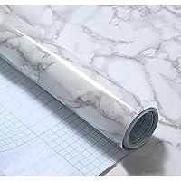 SDYDAY - Papel pintado, efecto mármol, papel de contacto de pared, autoadhesivo, despegar y colocar, para esstantes, forro impermeable, Blanco, Tamaño libre