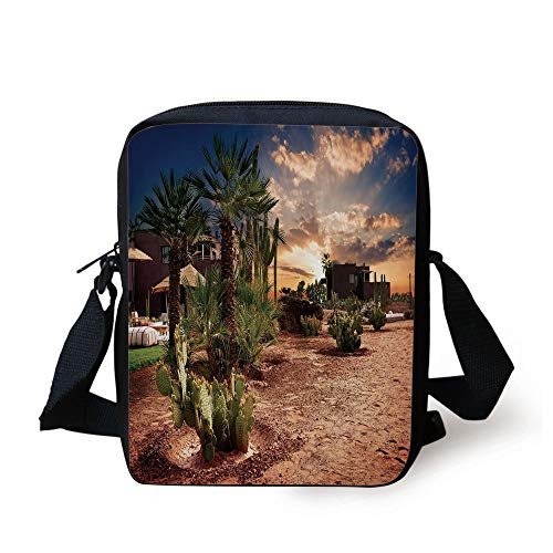 Oasis Palm-design (Desert,Majestic Sky View Palm Trees and Cactus in Oasis Morocco Tropic Nature,Blue Green Light Brown Print Kids Crossbody Messenger Bag Purse)