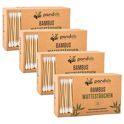 Preisvergleich Produktbild pandoo®  4er Pack Bambus Wattestäbchen (800 Stück) | 100% biologisch abbaubar, vegan & nachhaltig | kompostierbare premium Q-Tips