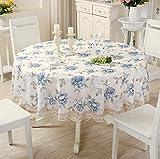 WJYdp Runde Blaue Blüten Der Tischdecke Sind Wasserfest, Ölbeständig, Wegwerfbar Und Verbrühungshemmend Hause Hotel Dekoration Stoff Hotelcafé-Tischdecke,150CM(59in)