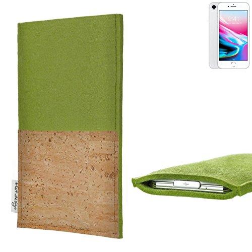 flat.design Smartphonehülle ÉVORA für Apple iPhone 8 - maßgefertigte Schutztasche aus 100% Wollfilz (grün) und echtem Kork - Pouch Handy Filzhülle im Slim fit Design für Apple iPhone 8 pistazie