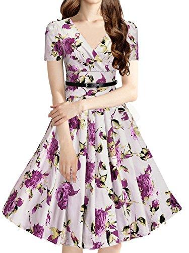LUOUSE 40s 50s 60s Vintage V-Ausschnitt Schwingen Rockabilly Pinup Ballkleid Partei Kleid,Purple,L (Abendmode Edel)