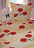Dekolook Bettwäsche 6tlg. Microfaser Bettwäsche Mohn Blume rot gelb 135 x 200 cm >>> RAUSVERKAUFPREIS NEU