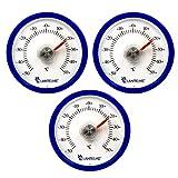 Lantelme 3 Stück Kühlschrankthermometer rund blau
