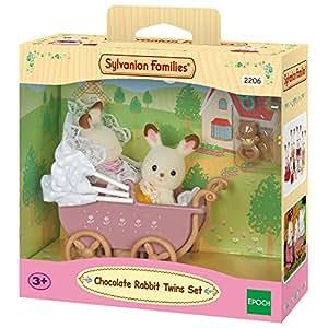 Sylvanian Families - 2206 - Jumeaux Lapin - Poupées et Accessoires - Chocolat / Poussette Double