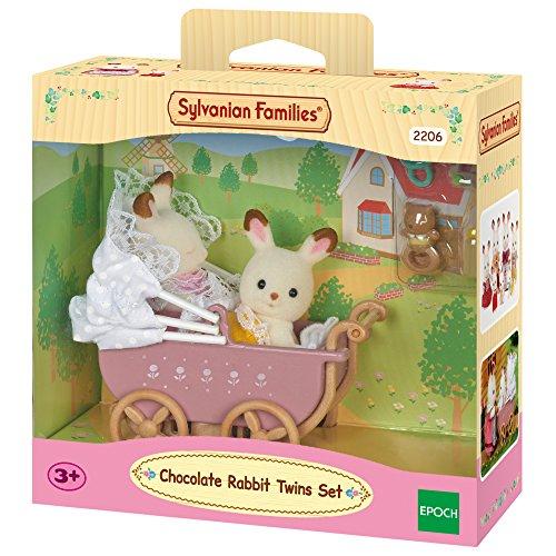 Sylvanian Families - 2206 - Jumeaux Lapin - Poupées et Accessoires - Chocolat / Poussette Double 4056256782708