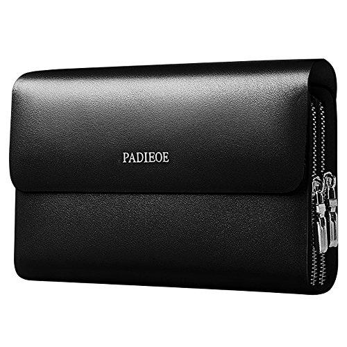 Men Genuine Leather Organiser Clutch Bags Handbag with Wrist Strap Checkbook Wallet (Black)