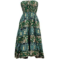 Mogul Interior Beach Dress Green Smocked Bodice Strapless Bohemian Gypsy Long Skirts Medium
