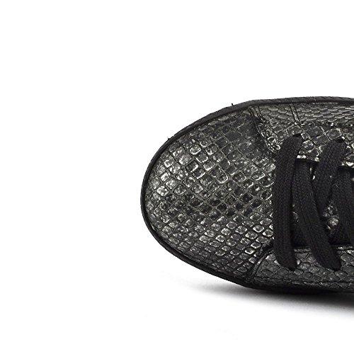 Ash Schuhe Cult Bis Sneaker aus Leder, Damen Schwarz/Pewter