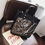 ZSBBshop Taschen Große Kapazität Handtasche weiblichen Stil Herbst Herbst Winter Leoparden Pack koreanische Version, Leopardenmuster Khaki
