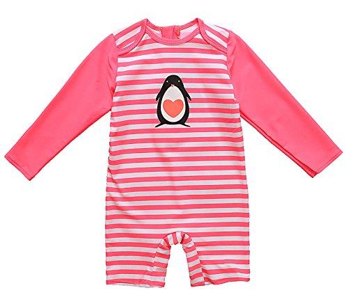 Attraco Säugling Badeanzug Mädchen Rash Guard UV Langarm Streifen One Piece Bademode UPF50+ Rot Streifen 2-3 Jahre