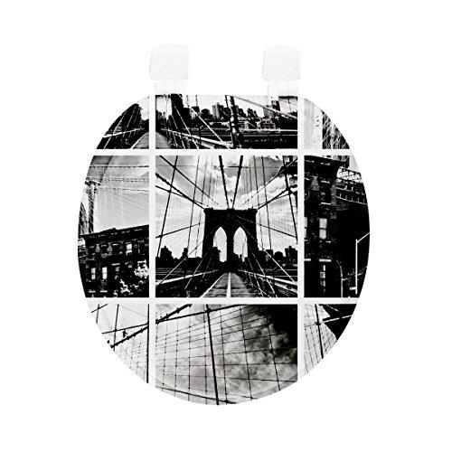 Carpemodo WC Deckel WC Sitz/Scharniere verchromt/Material Holz MDF/edles und modernes Design als Fotodruck/Farbe Schwarz Weiß/Motiv Brooklyn