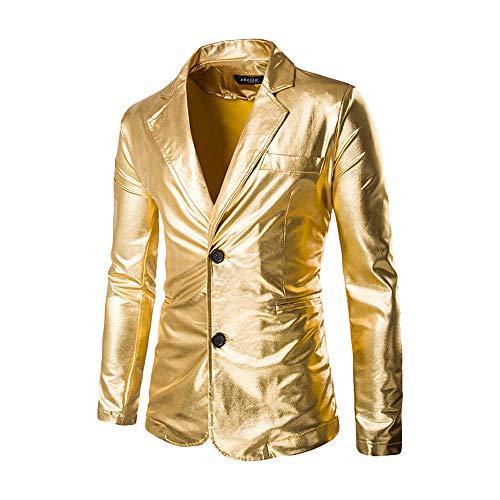Battnot Herren Anzug Slim Fit Gold Heißprägen Print Blazer, Männer Mantel für Geschäft Hochzeit Party Business Casual Knöpfe Jacke Suit Regular Fit Mens Fashion Top Coat Outwear M-3XL Stilvolle Bluse -