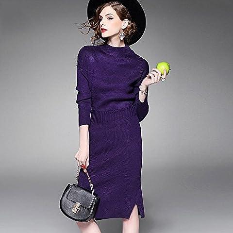 WZH Cintura medio cuello alto de las mujeres falda de punto vestido paso cadera paquete Jersey . purple . f
