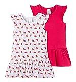 C&A Baby Mädchen Kleider 2-er Set aus Bio-Baumwolle Wassermelonen-Print pink weiß Größe 86
