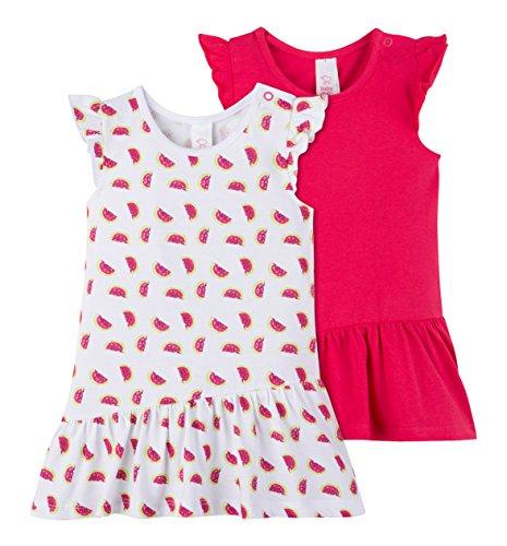 C&A Baby Mädchen Kleider 2-er Set aus Bio-Baumwolle Wassermelonen-Print pink weiß Größe 68