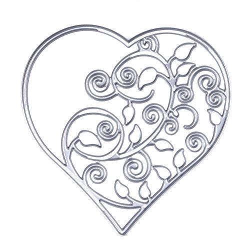Demiawaking Two Style Love Heart Shaped Cutting Dies Stencil for DIY Scrapbooking Album Card Making Party Decor (01) Test