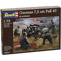 Revell Modellbausatz Figuren 1:72 - German 7,5 cm PaK40 & soldiers im Maßstab 1:72, Level 4, originalgetreue Nachbildung mit vielen Details, 02531