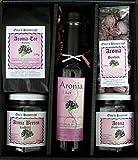 Aronia Geschenkbox nach Omas Hausrezept, Aronia: Likör, Tee, Fruchtaufstrich, Bonbon, Aroniabeeren kandiert