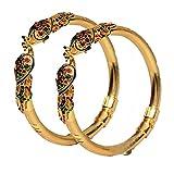 #10: Mansiyaorange Traditional Fancy Designer Casual Party Wedding Wear Original Hand Work Meena One Gram Gold Multi Color Golden Bangles For Women Stylish
