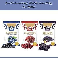 Wonderland Dried Blueberry 150g + Sliced Cranberry 200g + Prunes 200g (Low-Sugar)