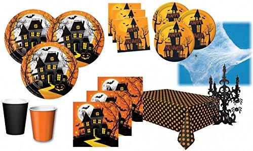 XXL 75 Teile Halloween Deko Set Halloween Spukschloß Geister 16 Personen (Halloween Party Teller)