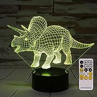 Sulida Luces de Noche para niños Dinosaurio Triceratops Lámpara de Noche con luz de Noche 3D 7 Colores cambiantes con Control Remoto Los Mejores Regalos de cumpleaños