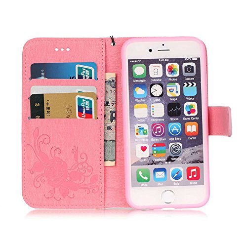 "Nutbro iPhone 6s Plus Case, 5.5 inch, for Apple iPhone 6 Plus 5.5"", Flip Folio [Kickstand Feature] with Built-in Credit Card Slots Wallet Case For Apple iPhone 6S Plus 5.5 inch Pink"