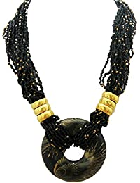 Shreyadzines Handmade Collection Small Black Beads Tibetan Style Necklace For Women And Girls