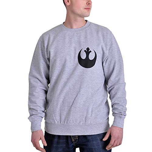 Plastichead Herren Sweatshirt Star Wars the Force Awakens X-Wing Fight Grau (Grey)