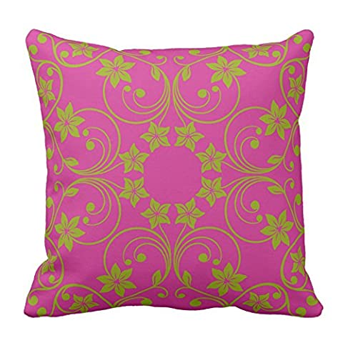 Floral Design Dark Pink and Green Flower Pattern Throw Pillow Cover Decorative Pillow Cases Cushion Cover Collection, 18X18 Inch