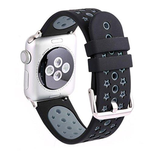 Kaiki für Apple Watch Series1/2 38mm Armband,Neue Art- und Weisesport-Silikon-Armband-Bügel-Band für Apple-Uhr-Reihe 2/1 38mm (Black)