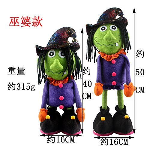 SunBai kreative Cartoon Dolls Teleskop witch Puppe Plüsch Spielzeug Halloween geek ständigen Kürbis Puppen Geschenk, - Halloween-cartoon-hexe