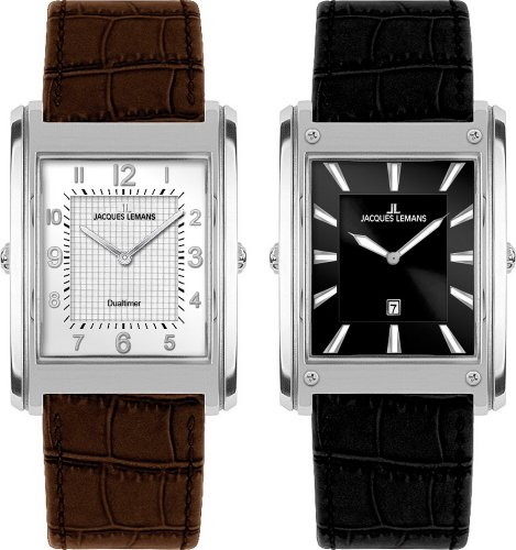 Jacques Lemans Men's Format Turnable Dualtime with Multi-Colour Dial and Leather Strap Watch 1-1533A
