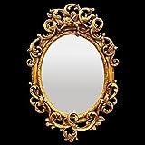 Bad Spiegel de Luxe ovaler Wandspiegel Barock Gold Blatt Akanthus