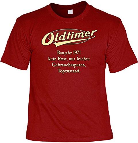 Geburtstags-Jahrgangs-Fun-Shirt-Set inkl. Mini-Shirt/Flaschendeko: Oldtimer Baujahr 1971 - geniales Geschenk Dunkelrot
