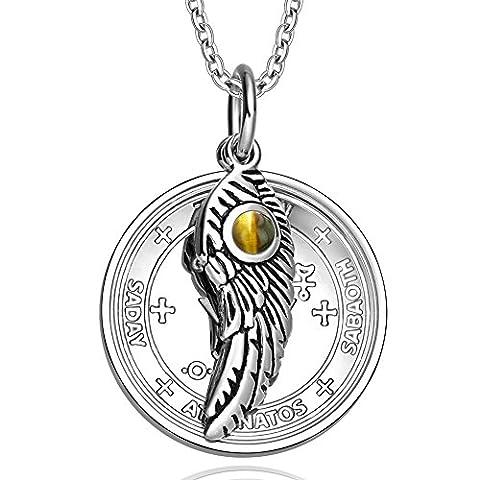Archangel Michael Sigil Amulet Magic Powers Angel Wing Charm Tiger Eye Pendant 18 Inch Necklace