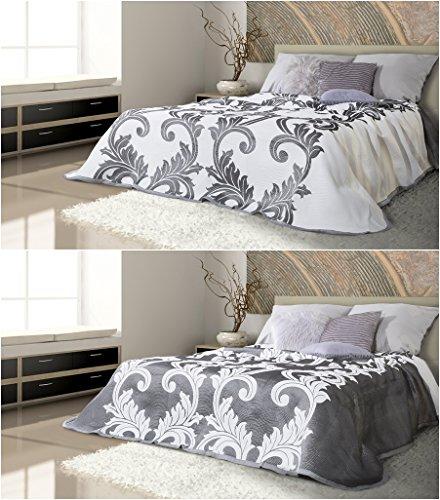 Copriletto fina 230x 260cm bianco acciaio argento grigio