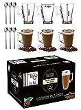 Ever Rich ® 240 ml bicchieri latte caffè tazza di tè (Fits Tassimo e Dolce Gusto) Set di 6 bicchieri (6 bicchieri con cucchiaio)