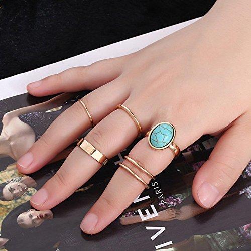 Klwkya europa e america lega di zinco turchese blu anello comune set di 5 pezzi completo da uomo squillare moda signorina squilla squilla,blue,a