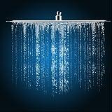 Soffione doccia quadrato, Soffione doccia pressione 16 pollice soffione per doccia a pioggia Anti calcare filtro ad acqua in acciaio inox risparmio acqua