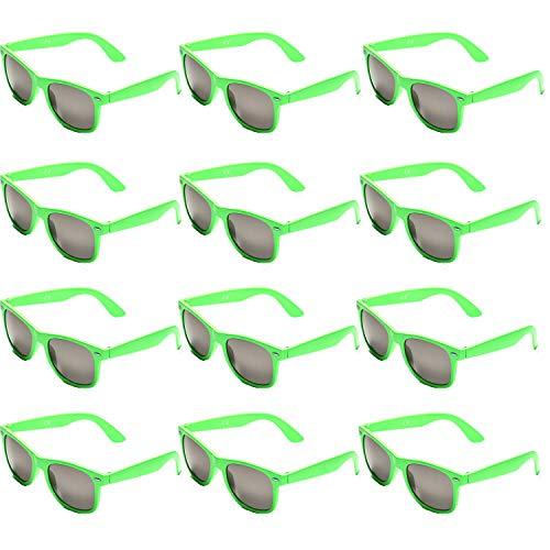 tige Neon Party Sonnenbrillen Set fur Kinder Damen Sommer 80er Uv400 (12Grün) ()
