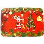 TRIXES Tappeto rosso natalizio con Babbo Natale per appoggiare sopra altri tappeti o da mettere in bagno.