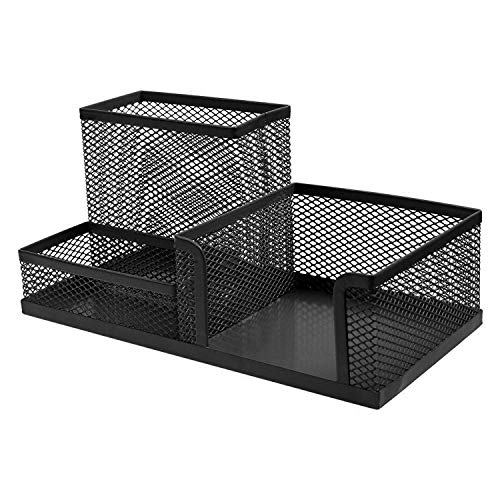 Latiq Mart 3 Sections Metal Mesh Desk Organizer Lacquer Book Pen Stationary Storage Holder Stand Organizer For Desk Tidy Table Office Use; Black